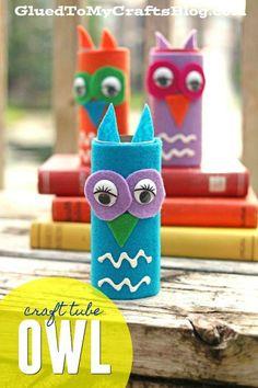 Craft Tube Felt Owl - Kid Craft Idea - Woodland Friends