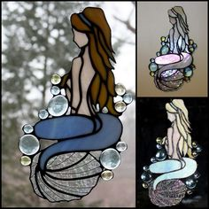 Stained Glass Mermaid Large 12 Suncatcher by BerlinGlass on Etsy