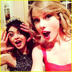 Who did Taylor Swift spend New Year's Eve with? Modern Family star Sarah Hyland! See more pics on JustJared.com! Celebrity Selfies, Celebrity News, Celebrity Style, Celebrity Gossip, Bffs, Rihanna News, Taylor Swift New, Videos Photos, Swift Photo