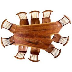 "George Nakashima Custom ""Sanso"" Table and Set of Ten ""Conoid"" Lounge Chairs - wow, just wow!"