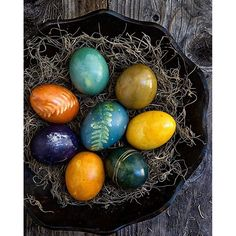 Stunning colors from natural dyes - purple cabbage (blue & turquoise), onion skins (orange) and blueberries (dark purple)! I love the deep earthly hues and organic, rustic look of naturally dyed eggs!