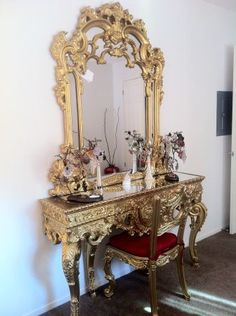 Amazing Width Of Vanity/console Is Good. Too Rococo Gold For My Taste; But Situated  Well. Vintage Vanity Table