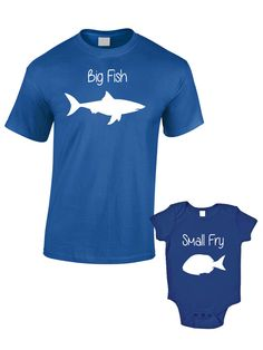 Big Fish Little Fry T-Shirts or Baby Grow - Matching Father Child Gift Set (2 shirts) - Father's Day Present Mum Son Daughter Dad Baby Cut