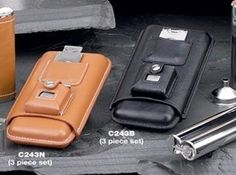 3 Cigar Holder w/ Cigar Cutter & Lighter, Brown Leather Case Bey-Berk. $74.97