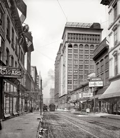 St. Louis, Missouri, circa 1900 - Olive Street West from Sixth