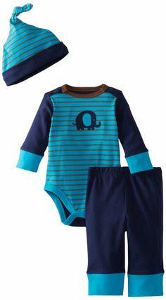 Amazon.com: Offspring - Baby Apparel Boys Newborn Elephant Bodysuit/Pant Set With Hat, Navy Multi, 6 Months: Clothing