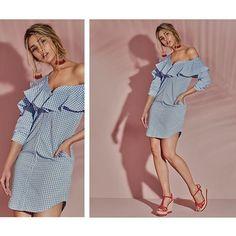 Vestido de cuadros Vichy, llévalo con nuestras sandalias en cuña de corcho. #StudioF #Summer2017 #Dress #Shoes #Fashion @melinaramirez90   Aretes - S504015  Vestido - S069969  Calzado - S161763 *Próximamente en tiendas