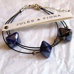 Handmade Ceramic Bead Bracelet by Jules + Fiona - beautiful 'midnight'