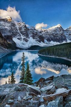 Valley of the Ten Peaks in Banff National Park, Alberta, Canada, which is crowned by ten notable peaks and also includes Moraine Lake.