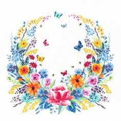 "Garden Party - Floral Wreath - White - 24"" x 44"" PANEL"
