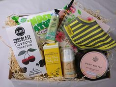 A large gift box with high quality, natural products they'll love. Baby Gift Box, Baby Gifts, Large Gift Boxes, Chocolate Covered Cherries, Soap Company, Belgian Chocolate, Baby Oil, New Mums, Gift Sets