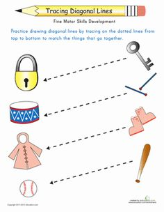 Preschoolers can practice drawing diagonal lines in preparation for writing by tracing the lines from top to bottom to match the objects that go together.