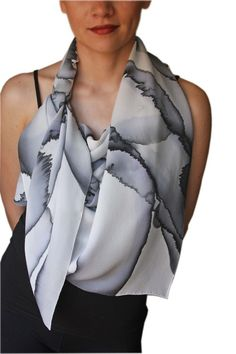 Hand Painted Silk Crepe Scarf $350 at Circle and Square - SF