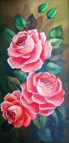 Cuadros de rosas pintadas al óleo | Bodegones y Paisajes Cuadros ...