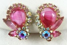 DeLizza & Elster Pink Givre Earrings - Garden Party Collection Vintage Jewelry