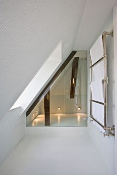 Fitting a small bathroom or ensuite into an awkward space? Get creative with your shower panels Loft Ensuite, Loft Bathroom, Bathroom Interior, Remodel Bathroom, Bathroom Storage, Shower Bathroom, Bathroom Remodeling, Basement Bathroom, Bathroom Mold