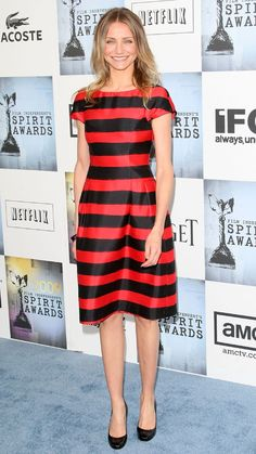Cameron Diaz #Style. Red and black striped dress.