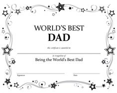 Worlds best dad award printable certificate along with others for worlds best dad certificate yadclub