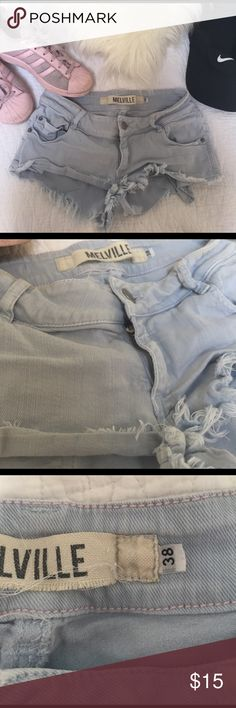 Brandy Melville Denim Shorts Light wash blue, stretchy, short and frayed!! Size fits a 23, 24, 25 US. 38 in European sizing. worn. Brandy Melville Shorts Jean Shorts