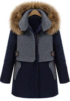 Abrigo mezclado lana combinado capucha pelo desmontable-Azul US$59.02