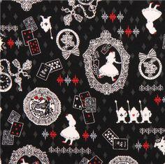 black Kokka Alice in Wonderland fairy tale fabric from Japan