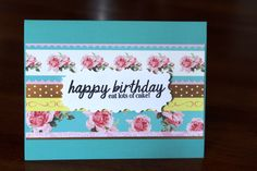 Handmade Birthday Card/Happy Birthday Eat Lots of Cake/Vintage Look/Turquoise Blue/Roses and Dots/Green/Blank Inside/Free Shipping by TresorValeur on Etsy