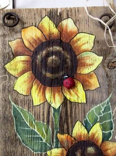 Sunflowers Yellow, Tole Painted on Reclaimed Barn Wood, Summer Time Flowers, Reclaimed Wood, Three Yellow Sunflowers and Red Lady Bug Pallet Painting, Tole Painting, Painting On Wood, Painting Pumpkins, Painted Pallet Art, Painted Fences, Wood Paintings, Decorative Paintings, Country Paintings