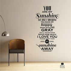 You Are My Sunshine Wall Quote Decal  Vinyl by singlestonestudios, $55.00