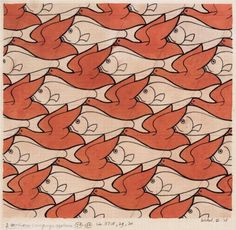 Bird Fish - Artist: M.C. Escher Completion Date: 1938 Style: Op Art Genre: tessellation