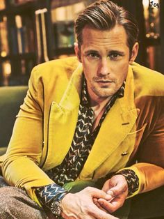3) Alexander Skarsgård in Man of the World magazine (issue #16). Photographed by Guy Aroch. my digital scan