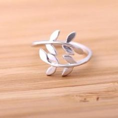 leaf ring adjustable silver by bythecoco on Zibbet