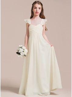 A-Line/Princess Sweetheart Floor-Length Chiffon Junior Bridesmaid Dress With Ruffle