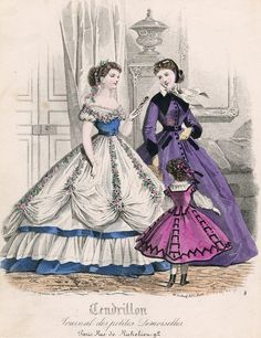 1860s fashion plate  January fashions, 1866 France, Cendrillon Could double task with the skirt and top...make the flowery over skirt removable and reveal a nice day skirt and make a 'Day top' or the dress...