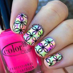 Super neon stamped nail art.