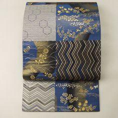 Riversible silk fukuro obi /【袋帯】未使用品/特選品/リサイクル着物/青系 片身替わりの幾何学花蝶柄と縞のリバーシブル六通