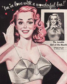 50's bra advert OMG look how far bras have come..! Sweater Girls and Bullet Bras #bulletbra #secretsinlace