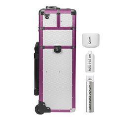 2 Rad Trolley Pilotenkoffer 60L 3-D Oberfläche Alu Rahmen Koffer - Beauty Case Karo geprägt | pink / weiß