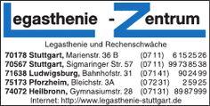 http://www.legasthenie-stuttgart.de/: Legasthenie-Zentrum Stuttgart und Umgebung, Vorträge zu Lernproblemen in verschiedenen Grundschulen in Stuttgart, Fortbildungen, qualifizierte Diagnose, Beratung und Therapien im Falle von Lese-Rechtschreibschwächen (Legasthenie bzw. LRS) in den Fächern Deutsch und Englisch sowie zusätzlich Diagnose und Therapie zur Behandlung einer Rechenschwäche (Dyskalkulie)
