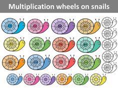 Multiplication wheels on snails by PrwtoKoudouni Multiplication Wheel, Multiplication Activities, Maths, School Frame, Times Tables, Pink Minnie, Homeschool Math, Home Schooling, Fun Math