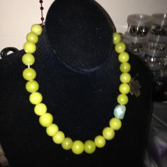 chartreuse colour citrine opaque beads with raw tumbled aquamarine bead and sterling silver cross. Pearl Necklace, Beaded Necklace, Necklaces, Chartreuse Color, Sterling Silver Cross, Yellow, Blue, Beaded Jewelry, Beading