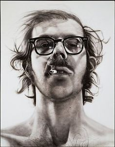 Chuck Close - Big Self Portrait, Probably one of my favorite art pieces ever. Chuck Close is a fine artist. Hyperrealism, Walker Art, Famous Artists, Portraiture, Photorealism, Walker Art Center, Art, Chuck Close Portraits, Art History