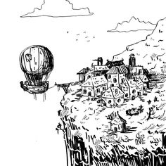Cool little #blackandwhite #airship #sketch by Miriam Kaiser (@miriamkaiser7) of a #flyingship hovering with what looks to be a #hotairballoon and docked with what I presume to be a small town called The Eagle's Nest (as that is the name of the #drawing). I love the use of simple varied brush strokes and how they add unique #texture to the land and the #buildings. Its interesting how something that looks like it could be a rather serious can also be #cartoon-y and cute (I know cartoony…