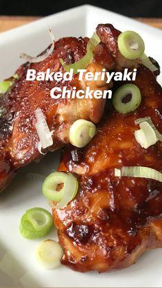 Baked Teriyaki Chicken, Baked Chicken Recipes, Crockpot Recipes, Cooking Recipes, Healthy Recipes, Oven Chicken, Boneless Chicken, Keto Chicken, Healthy Chicken