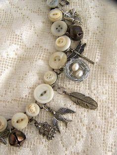 Handmade Button Charm Bracelet Vintage Button Bracelet by QueenBe