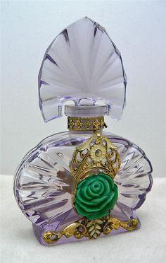 OLD Czech Jeweled Purple Perfume Bottle | eBay