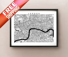 London Map  Black and White Wall Art England Art by CartoCreative