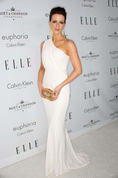 Celebrity Dresses Kate Beckinsale White One Shoulder Formal Gown Evening Dress Red Carpet