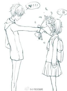 """""""anime couples. Lol!!!!"""" - Boy: Here... *shoves flowers in face* Girl: ... - HAHAHA!!! Perfect love:"""