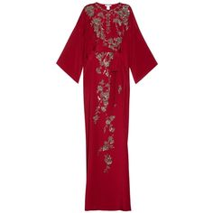 OSCAR DE LA RENTA Embellished silk-blend gown ($3,690) ❤ liked on Polyvore featuring dresses, gowns, long dresses, red, beaded gown, long red gown, oscar de la renta gown, long red evening gown and floral gown