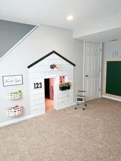 Small Kids Playroom Design Ideas Under Stairs Under Stairs Playhouse, Under The Stairs, Playhouse Ideas, Indoor Playhouse, Under Stairs Playroom, Closet Playhouse, Playhouse Decor, Playhouse Interior, Playroom Design